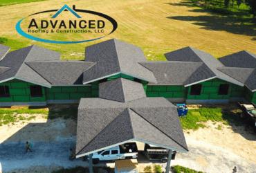complex asphalt roof