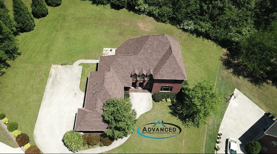 large home asphalt shingle roof