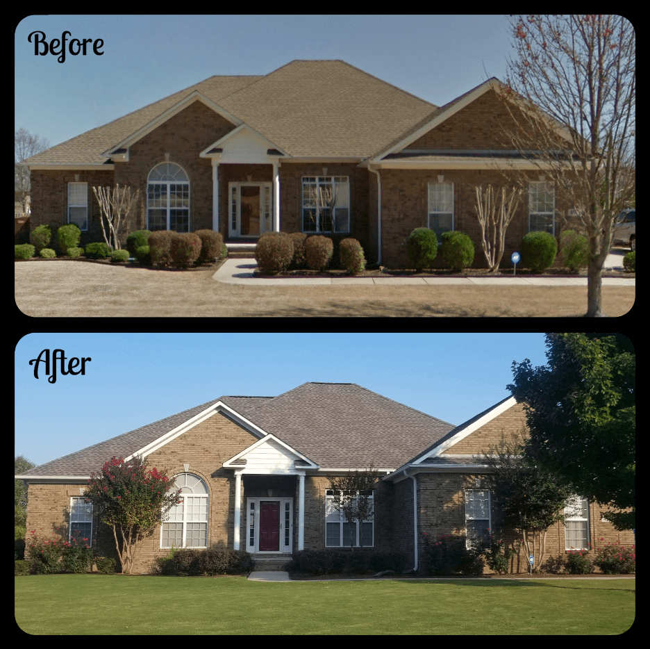 before and after brown asphalt shingles