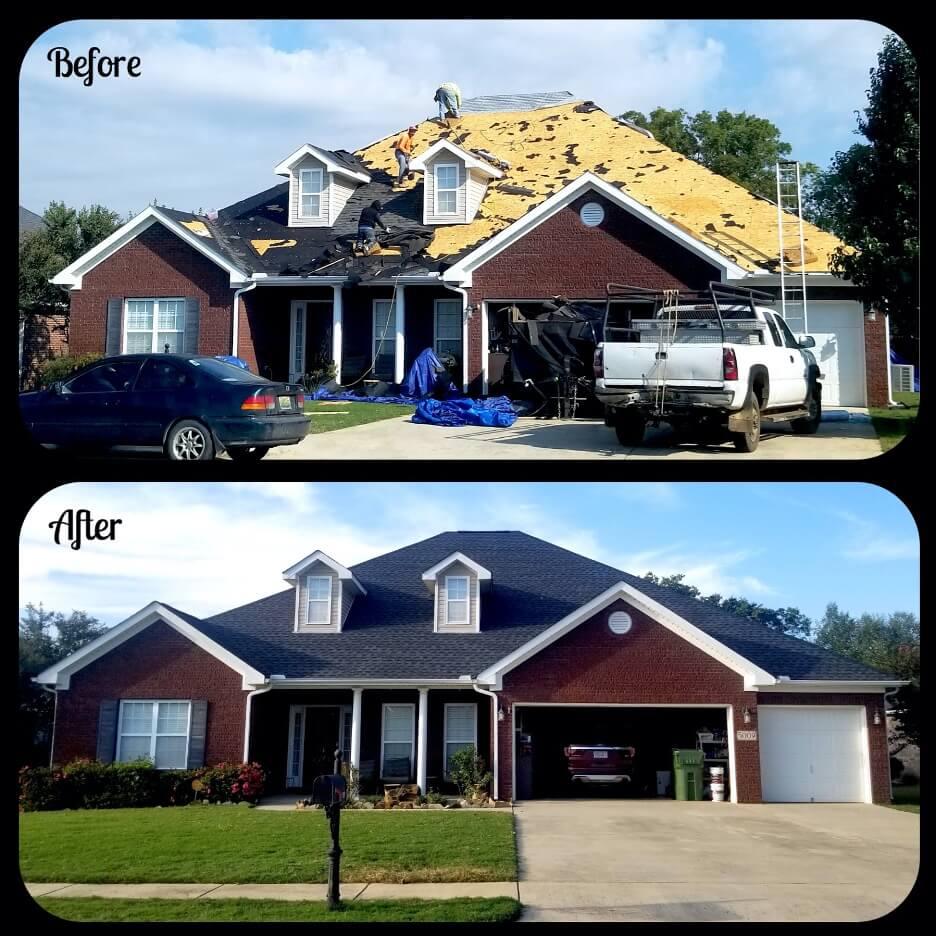before and after dark asphalt shingles