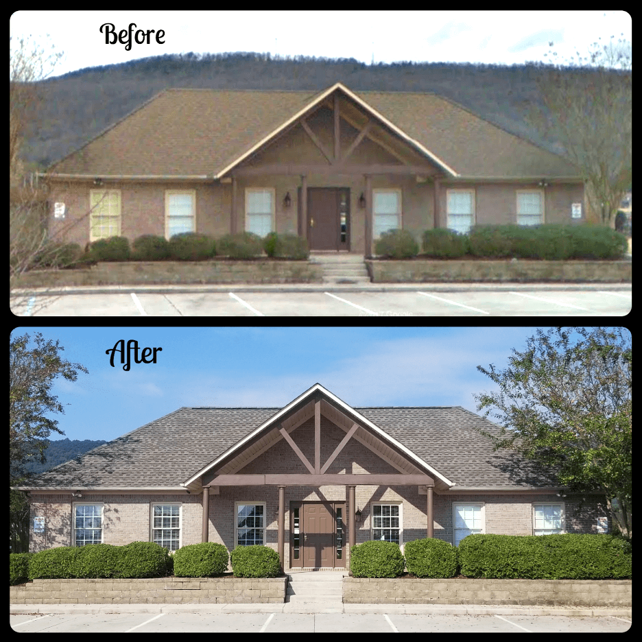 before and after round shingle roof