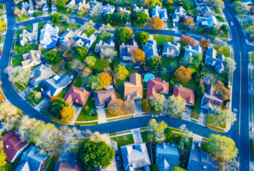 Colorful Fall Aerial Homes in Modern Suburb